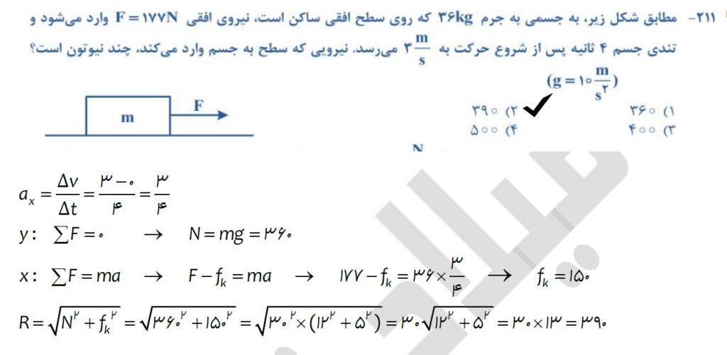 حل تست فیزیک 1400